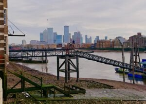 View from Thames Police Museum towards Canary Wharf - photo c. Sue Stamp